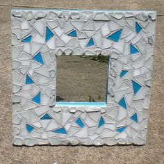 Ice Blue Stained Glass Mirror