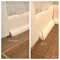 Professional Baseboards On A Budget As promised, I'm back with more of our Entry Hall Makeover. Today I'm going to attempt to tell/show you how to get your very own perfect baseboards with… Home Improvement Projects, Home Projects, Home Renovation, Home Remodeling, Basement Renovations, Wood Look Tile Floor, Trim Carpentry, Baseboard Trim, Baseboard Ideas