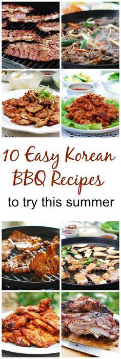 10 Easy Korean BBQ Recipes by nkvang Read Korean Bbq Recipe, Korean Barbeque, Easy Korean Recipes, Asian Recipes, Mexican Food Recipes, Healthy Recipes, Healthy Food, Korean Bbq At Home, Korean Kitchen