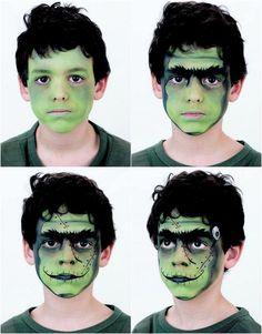 Frankenstein Schminke für einen kleinen Jungen Face Painting Halloween Kids, Halloween Makeup For Kids, Clever Halloween Costumes, Kids Makeup, Halloween Inspo, Halloween 2018, Halloween Face, Frankenstein Face Paint, Frankenstein Costume