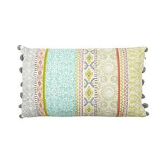 Butterfly Home by Matthew Williamson Multi-coloured striped pom pom cushion- | Debenhams