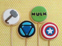 Avengers (Vingadores), cookies, biscoitos decorados | by Cookie Design