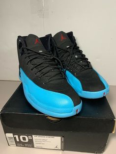 meet 69750 e4d4f CLEAN Nike Air Jordan XII 12 Retro Black Gamma Blue 130690-027 Size 10.5  Black  shoes  kicks  sneakers