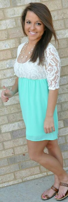 white lace top mint bottomed dress.