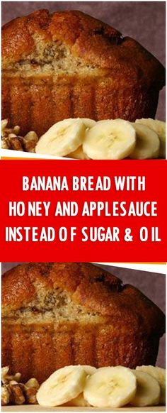 Banana Bread with honey and applesauce instead of sugar & oil. – Fresh Family Recipes Banana Bread with honey and applesauce instead of sugar & oil. – Fresh Family Recipes Ingredients 2 cups whole wheat flou… Desserts Sains, Köstliche Desserts, Light Desserts, Chocolate Desserts, Chocolate Cake, Banana Bread Recipes, Clean Banana Bread, Diabetic Banana Bread, 2 Bananas Banana Bread
