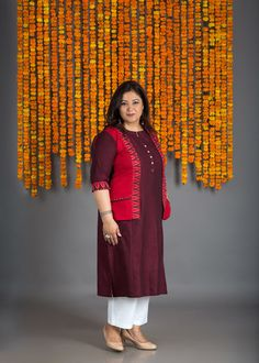 The Burgundy Jacket Kurta Simple Kurta Designs, Kurta Designs Women, Salwar Designs, Blouse Designs, Dress Indian Style, Indian Dresses, Printed Kurti Designs, Kurta Patterns, Ikkat Dresses