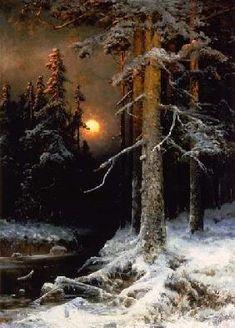 von Klever Julius Sergius - Wintry woodland landscape with full moon.