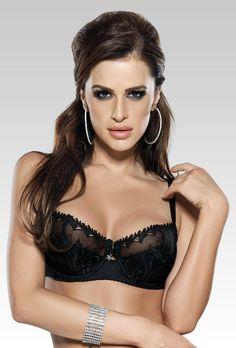Soutien-gorge sexy femme noir dentelle balconnet lingerie luxe FP1005   Balconnet Lingerie De Luxe f3477c74441