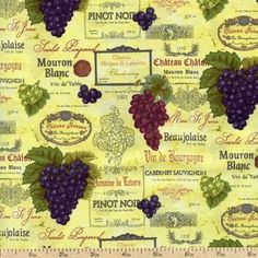 Vineyard Collection Labels Cotton Fabric - Champagne