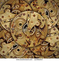 Layers of rusty brass mechanical watch mechanism.