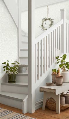 Beautiful Traditions - 6712 - Beach house - Elsa,Scandinavian design wallpaper Berså from collection by Borastapeter and Eco Wallpaper - Painted Staircases, Painted Stairs, White Staircase, Staircase Design, Staircase Makeover, Hallway Designs, Interior Stairs, Beautiful Interior Design, House Stairs
