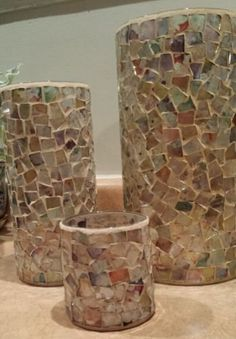 Irridescent Mosaic Tile Pillar Candle Holders ~ Set of 3