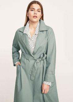 Classic cotton trench coat - Coats Plus sizes | Violeta by MANGO Denmark