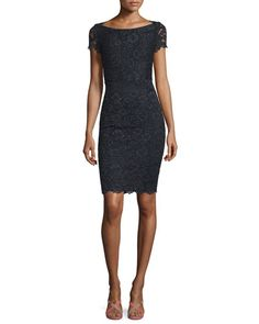 TBN09 Diane von Furstenberg Ainsley Cap-Sleeve Lace Sheath Dress, Black
