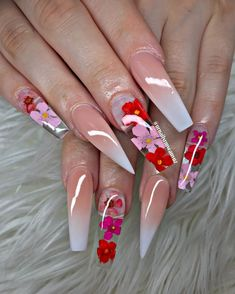 These are the most fashionable crystal nail designs in the summer. They are full of romantic and elegant taste. Whether it is diamond-studded … Summer Acrylic Nails, Best Acrylic Nails, Summer Nails, Spring Nails, Long Nail Designs, Acrylic Nail Designs, Nail Art Designs, Diamond Nail Designs, Acrylic Art
