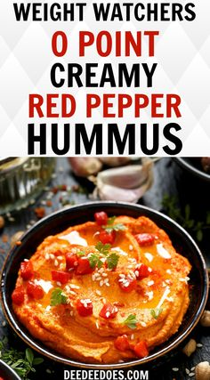 Try this fantastic Weight Watchers Freestyle 0 point recipe creamy dreamy hummus + variations and you'll never buy store brand hummus again! Red Pepper Hummus, Bean Recipes, Ww Recipes, Gourmet Recipes, Healthy Recipes, Drink Recipes, Healthy Meals, Free Recipes, Greek Yogurt