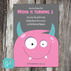 Monster Birthday Party Invitation Funny Monster by AFlairForPaper