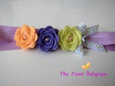 Peach lilac and pale yellow felt flowers by chicsweetbabytique, $7.00