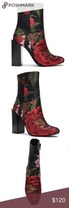 """Jeffery Campbell Stratford Booties Roses Size 8.5 Jeffery Campbell Stratford Booties Floral Brocade Size 8.5. Flawless Condition! Worn Twice! Side Zipper. Heel measures approx 4"""" and shaft approx 6"""". Jeffrey Campbell Shoes Ankle Boots & Booties"""