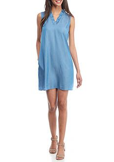 Crown & Ivy™ Women's Petite Sleeveless Ruffle Front Dress - - No Size Crown And Ivy Dresses, Chambray Fabric, Summer Looks, Frocks, Spring Summer, Summer Dresses, Chic, Stylish, Lady
