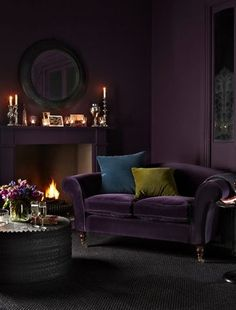 09 Deep And Moody Aubergine Purple Of This Living Room Draws One In. 09 Deep And Moody Aubergine Purple Of This Living Room Draws One In. 09 Deep And Moody Aubergine Purple Of This Living Room Draws One In Purple Interior, Home Interior, Interior Design, Interior Paint, Winter Living Room, Home Living, Cottage Living, Modern Living, Living Area