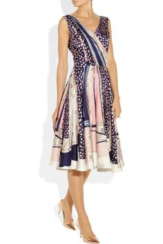 Oscar de la Renta | Printed silk-twill wrap-effect dress | NET-A-PORTER