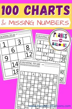 Missing numbers in number charts 1-20, 1-50, and 1-100. FREE printable number charts, great for 100th day of school. Kindergarten worksheets. #planesandballoons 100 Chart Printable, Free Printable Numbers, Printable Worksheets, Printables, Toddler Home Activities, Math Activities, Number Chart 1 20, Teaching Numbers, Elementary Math