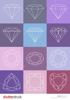 Set of isolated gem stones.Vector set of diamond design elements. Precious gem stones set of forms. © Seydoux