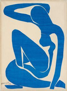 From Fondation Beyeler, Henri Matisse, Nu bleu I (Blue Nude I) Paper cutouts painted in gouache glued on paper on canvas, 106 × 78 cm Henri Matisse, Matisse Art, Matisse Paintings, Picasso Paintings, Matisse Pinturas, Vincent Van Gogh, Art History, Art Inspo, Illustration