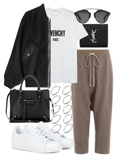 """""""Untitled #20069"""" by florencia95 ❤ liked on Polyvore featuring Yves Saint Laurent, Rick Owens, Givenchy, Alexander Wang, Balenciaga, adidas, Christian Dior and ASOS"""