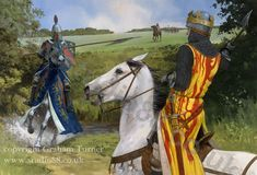 """Henry de Bohun confronts Robert the Bruce. Robert the Bruce was considered one of the """"Three Best Knights of Christendom"""". This encounter ended with the death of the hot blooded de Bohun, his skull being cleaved in two by the axe of The Bruce Medieval World, Medieval Knight, Medieval Armor, European History, British History, Ancient History, Gandalf, Medieval Drawings, Good Knight"""