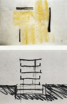 Peter Zumthor. Sketches for the Bregenz Museum, a floor plan with light flooding in, and a simple section