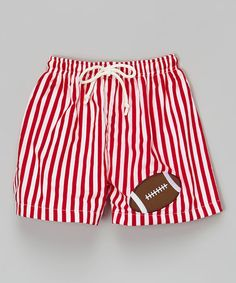 Look what I found on #zulily! Red Stripe Football Swim Trunks - Infant & Toddler #zulilyfinds