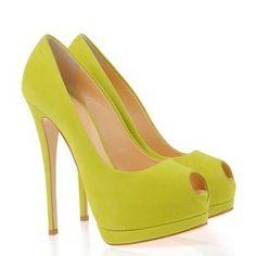 Giuseppe Zanotti lime green peep-toe in suede