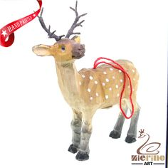New listing! Hand-carved wooden deer painted decorative wall carvings ZR10009 #ZL #Ornament