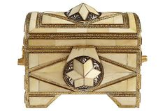 The intricate details on this brass box with inlay cow horn is amazing!