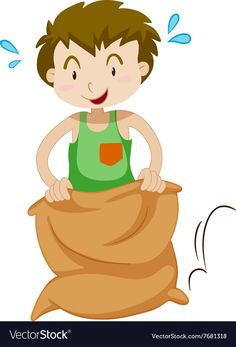 Boy in the sack jumping vector image on VectorStock Games For Kids, Adobe Illustrator, Vector Free, Disney Characters, Fictional Characters, Disney Princess, Children, Boys, Illustration