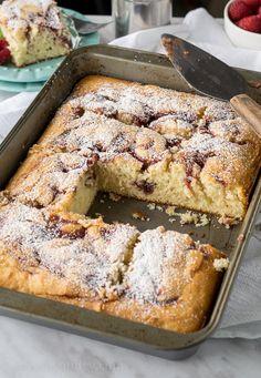Cream Cheese Raspberry Coffee Cake! Super easy, from scratch, cake!