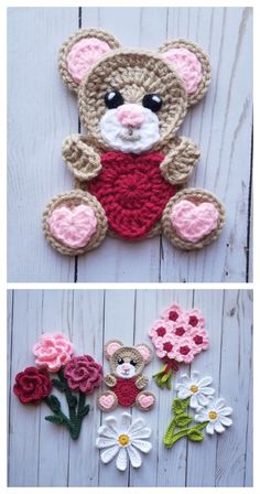 # crochet crafts how to make Teddy Bear Applique Free Crochet Patterns & Paid - DIY Magazine Crochet Unique, Crochet Simple, Crochet Diy, Crochet Bear, Crochet Animals, Crochet Crafts, Double Crochet, Single Crochet, Crochet Teddy Bear Pattern