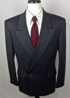 YSL Yves Saint Laurent Blazer 40 Gray Wool Sport Coat Jacket France 40R Men's #YvesSaintLaurent #DoubleBreasted