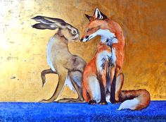 Space Between The Hare and The Fox- hand-embellished limited edition print by Jackie Morris Hare Illustration, Illustrations, Cottages By The Sea, Fox And Rabbit, Limited Edition Prints, Art Forms, Female Art, Fantasy Art, Moose Art