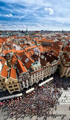 Prague, Czech Republic.... This is the main shopping area with the huge astronomical clock and lots of cafes.