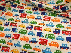▲綿(コットン) - 商品詳細 コットンプリント TOY CARS 110cm巾/生地の専門店 布もよう
