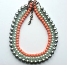 Handmade necklace created with azure, coral and silver pearls.    www.facebook.com/SimplicitybyMelanie