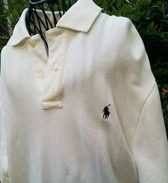 faaf9ab7da90 Ralph Lauren Polo Mens 2 Button Fleece Shirt Sweatshirt Large Off White EUC