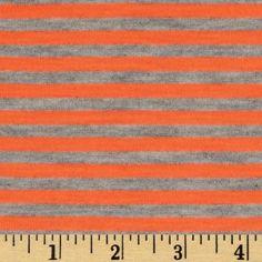 Stretch Cotton Blend Jersey Knit Stripes Neon Orange/Grey