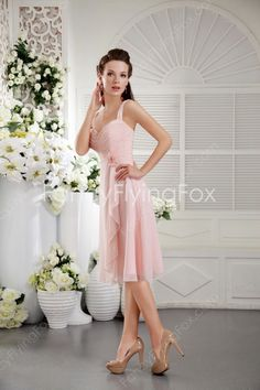 Flattering Double Straps A-line Knee Length Pink Bridesmaid Dresses