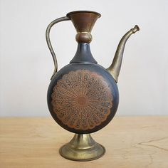 Vintage Antique Teapot, Turkish Teapot with beautiful etched motif, Brass Etched Pitcher $33