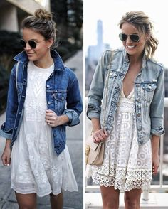 white dress combination with jeans jacket