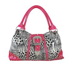 Animal Print Rhinestone Buckle Handbag Hot Pink Trim